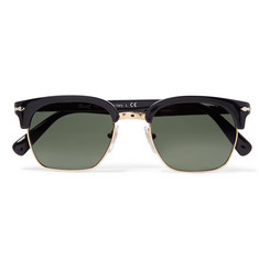 Persol D-Frame Gold-Tone and Acetate Sunglasses