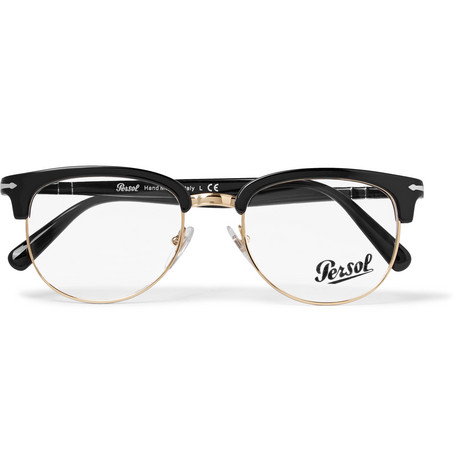 d1ecfc1c49afd Persol D-Frame Acetate And Gold-Tone Optical Glasses In Black ...