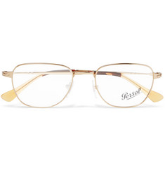 Persol D-Frame Gold-Tone Optical Glasses