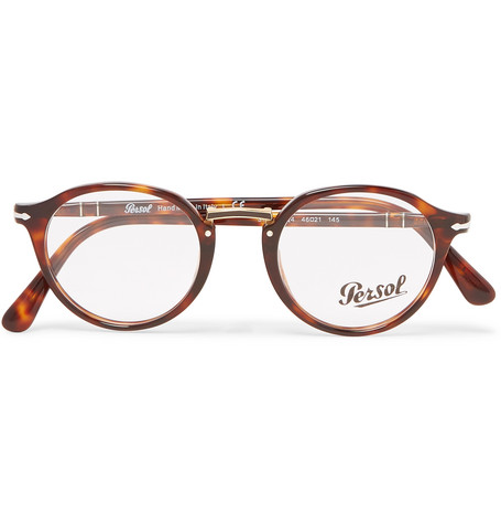 ac7727a6246 Persol Round-Frame Tortoiseshell Acetate And Gold-Tone Optical Glasses