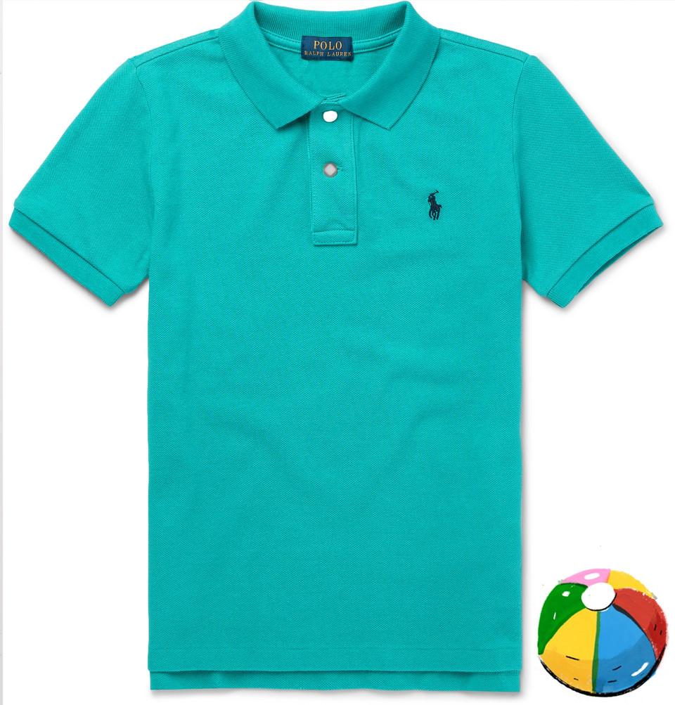 Billede af Boys Ages 2 - 10 Cotton-piqué Polo Shirt - Turquoise