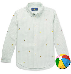 Polo Ralph Lauren Boys Ages 2 -6 Embroidered Striped Cotton-Oxford Shirt