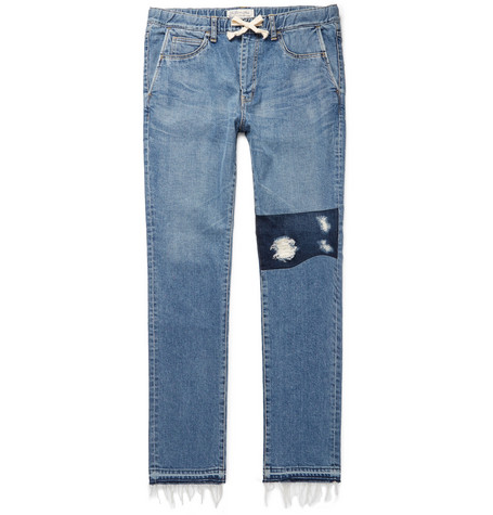 Slim-fit Distressed Denim Drawstring Jeans - Blue