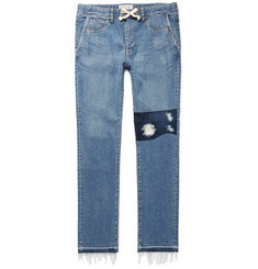 Remi Relief Slim-Fit Distressed Denim Drawstring Jeans
