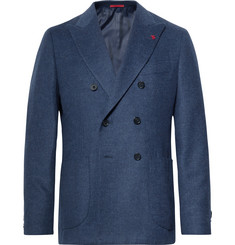 Isaia Navy Slim-Fit Unstructured Double-Breasted Wool and Cashmere-Blend Blazer