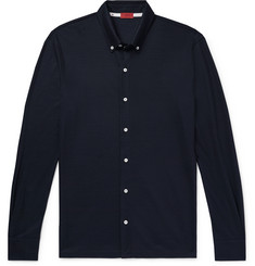 Isaia Slim-Fit Button-Down Collar Wool-Piqué Shirt