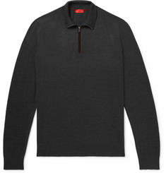 Isaia Merino Wool Half-Zip Sweater