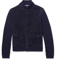 Ralph Lauren Purple Label Suede-Panelled Cashmere Cardigan