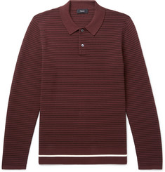 Theory Kortes Striped Ribbed Knitted Polo Shirt