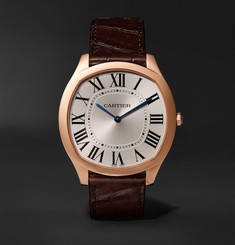 Cartier - Drive de Cartier 18-Karat Pink Gold and Alligator Watch