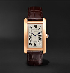Cartier - Tank Américaine Automatic 45mm 18-Karat Pink Gold and Alligator Watch
