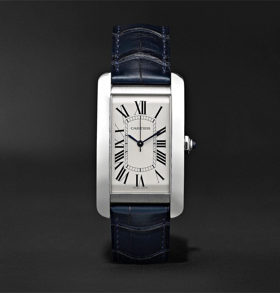 Cartier Tank Américaine Automatic 45mm Steel and Alligator Watch
