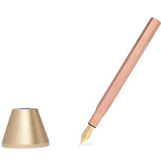 Ystudio Brass and Copper Desk Fountain Pen and Holder