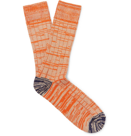 THE WORKERS CLUB Mélange Cotton And Nylon-Blend Socks in Orange