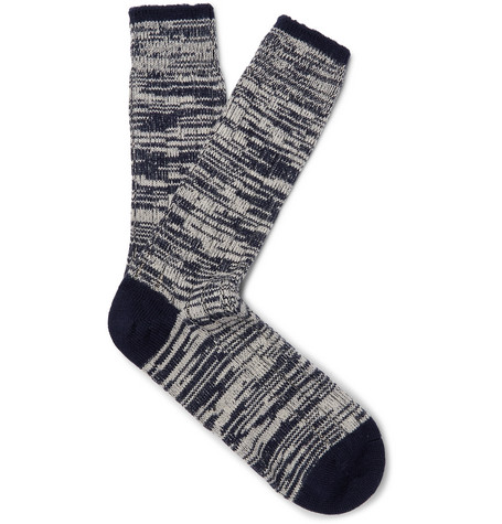 THE WORKERS CLUB Mélange Merino Wool And Nylon-Blend Socks in Blue