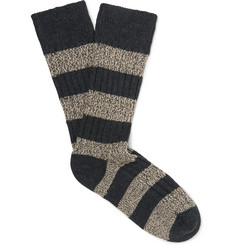 The Workers Club - Striped Ribbed Mélange Stretch Merino-Wool Blend Socks