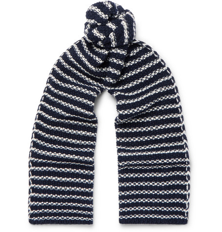 THE WORKERS CLUB Striped Merino Wool Scarf in Navy