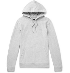 Stüssy Logo-Embroidered Mélange Loopback Cotton-Jersey Hoodie