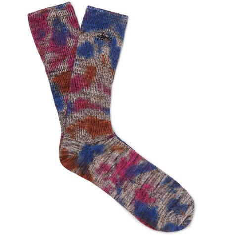 STUSSY | Stüssy - Tie-dyed Cotton-blend Socks - Blue | Goxip