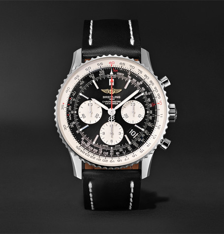 BREITLING Navitimer 01 Chronograph 43Mm Stainless Steel And Leather Watch - Black - One Siz