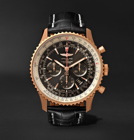 BREITLING Navitimer 1 Chronometer 46Mm 18-Karat Red Gold And Crocodile Watch - Black - One Siz