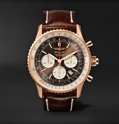 Breitling Navitimer 1 Rattrapante Chronometer 45mm 18-Karat Red Gold and Crocodile Watch