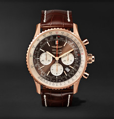 Breitling - Navitimer 1 Rattrapante Chronometer 45mm 18-Karat Red Gold and Crocodile Watch
