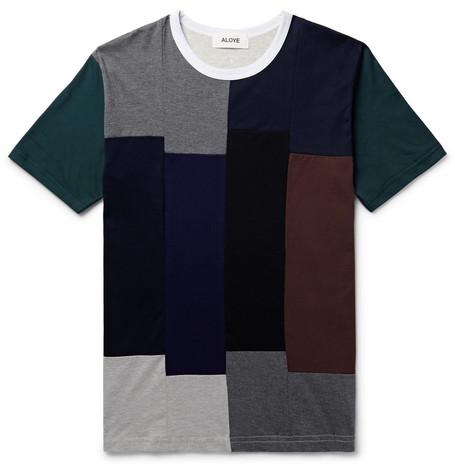 ALOYE Patchwork Cotton-Jersey T-Shirt - Multi