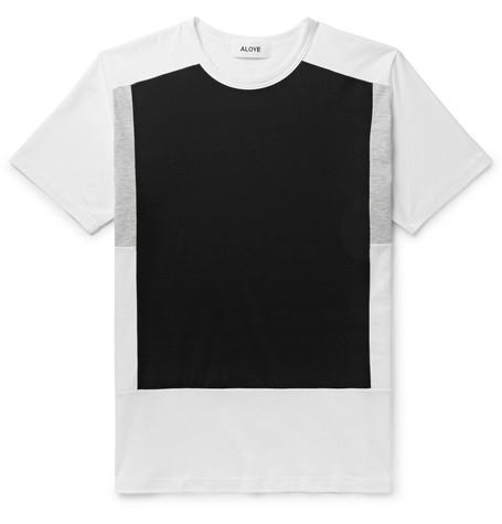 ALOYE Colour-Block Cotton-Jersey T-Shirt - Black