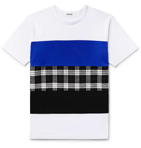 ALOYE Panelled Cotton-Jersey T-Shirt - White