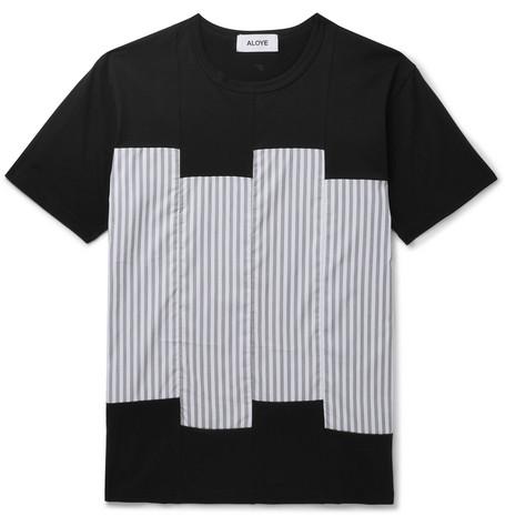 ALOYE Lim-Fit Triped Ateen-Panelled Cotton-Jersey T-Shirt - Black