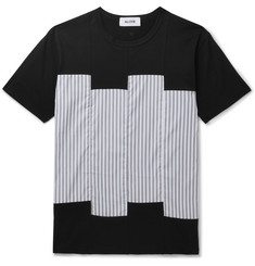 Aloye Slim-Fit Striped Sateen-Panelled Cotton-Jersey T-Shirt