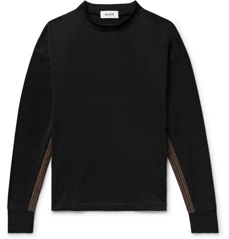 ALOYE Stripe-Trimmed Mock-Neck Cotton-Jersey Sweatshirt - Black