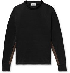 Aloye Stripe-Trimmed Mock-Neck Cotton-Jersey Sweatshirt