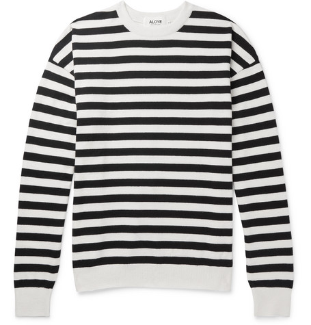 ALOYE Oversized Striped Cotton Sweater - White