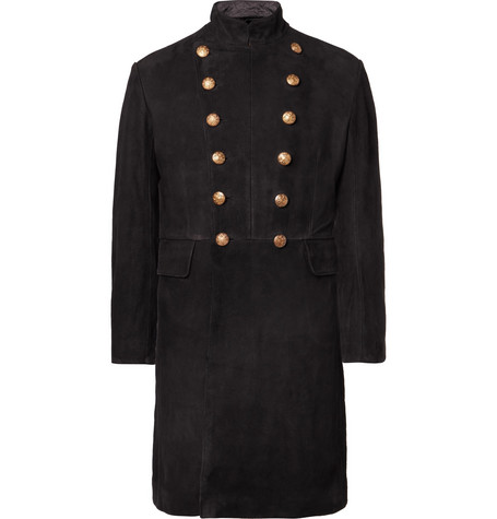 Slim Fit Double Breasted Suede Coat by Rrl