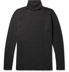 nonnative Mélange Wool and Cotton Blend-Rollneck Sweater