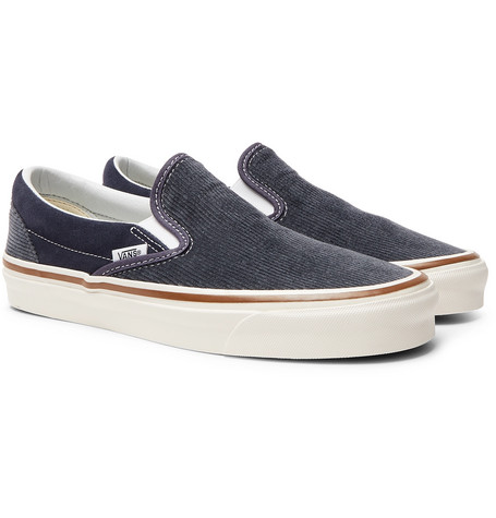 Vans Og 98 Dx Cotton-Corduroy And Suede Slip-On Sneakers In Blue