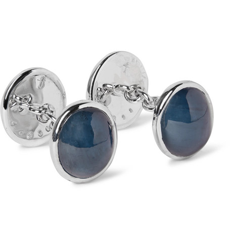 TRIANON 18-Karat White Gold, Cabochon Sapphire And Moonstone Cufflinks in Blue