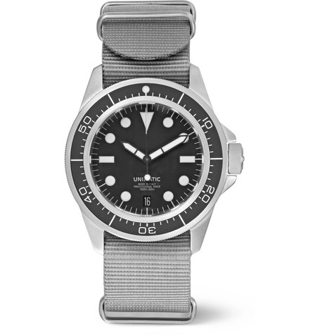 UNIMATIC Modello Uno U1-D Automatic Brushed Stainless Steel And Webbing Watch in Black