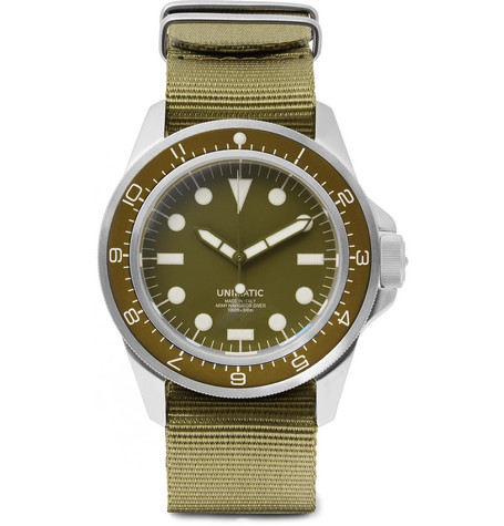 UNIMATIC Modello Uno U1-Dz Automatic Brushed Stainless Steel And Webbing Watch in Green