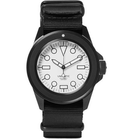 UNIMATIC U1-Dwn Dlc-Coated Stainless Steel And Webbing Watch in White