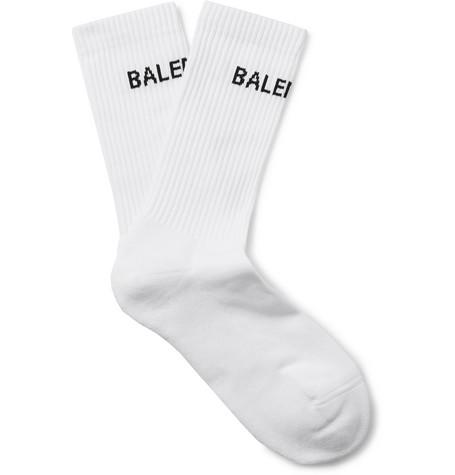 Logo-intarsia Stretch Cotton-blend Socks