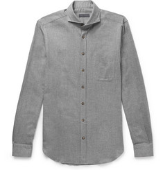Thom Sweeney - Venus Cutaway-Collar Herringbone Cotton-Flannel Shirt