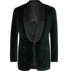 Thom Sweeney Dark-Green Slim-Fit Satin-Trimmed Cotton-Velvet Tuxedo Jacket