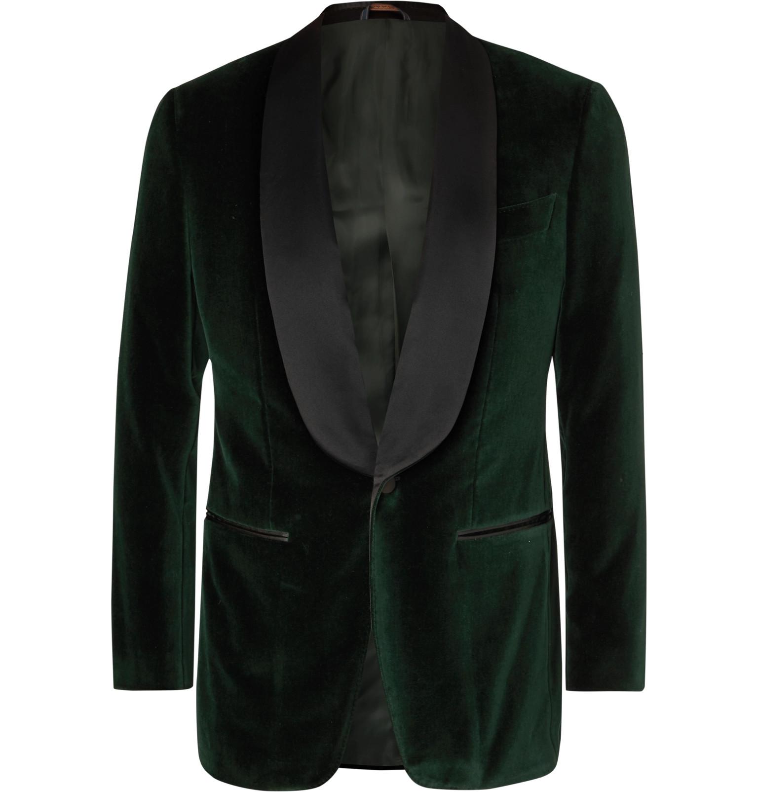 0d21910b4f1 Thom SweeneyDark-Green Slim-Fit Satin-Trimmed Cotton-Velvet Tuxedo Jacket