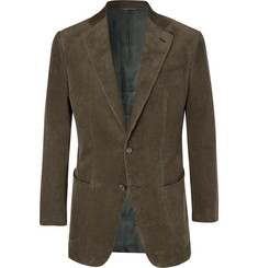 Thom Sweeney Army-Green Slim-Fit Cotton-Corduroy Suit Jacket