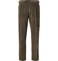 Thom Sweeney Army-Green Slim-Fit Cotton-Corduroy Suit Trousers