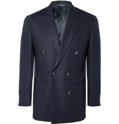 Thom Sweeney Navy Double-Breasted Wool-Twill Blazer