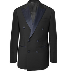 Thom Sweeney Midnight-Blue Slim-Fit Satin-Trimmed Wool Tuxedo Jacket